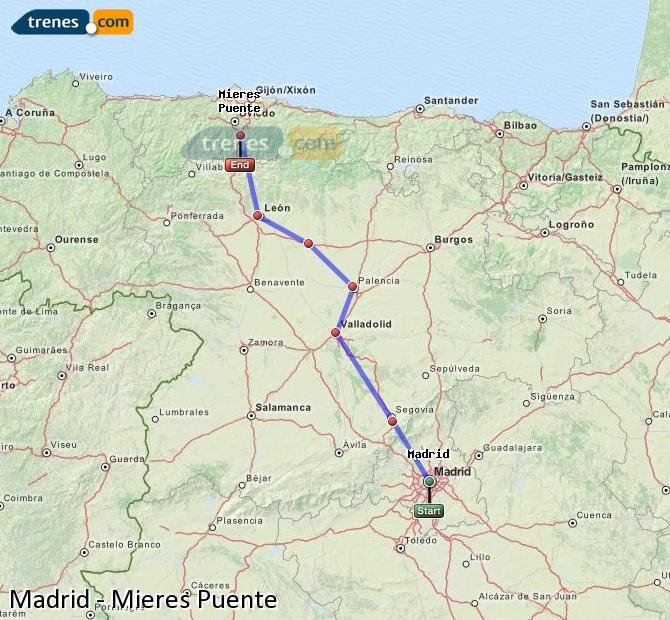 Enlarge map Trains Madrid to Mieres Puente