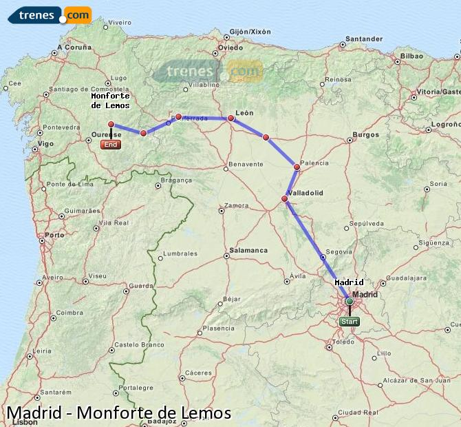 Enlarge map Trains Madrid to Monforte de Lemos