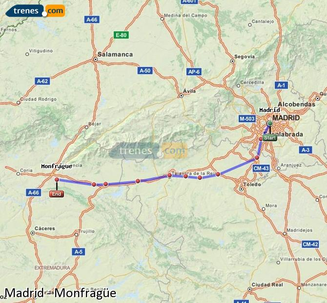 Enlarge map Trains Madrid to Monfragüe