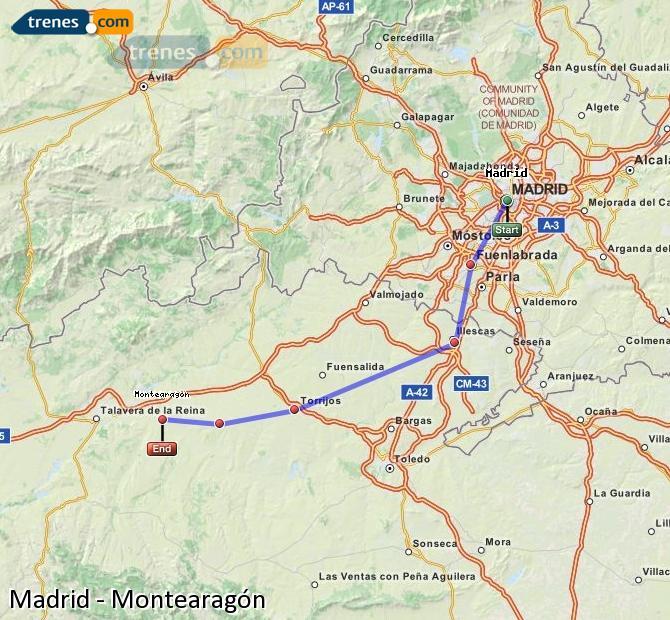 Ingrandisci la mappa Treni Madrid Montearagón