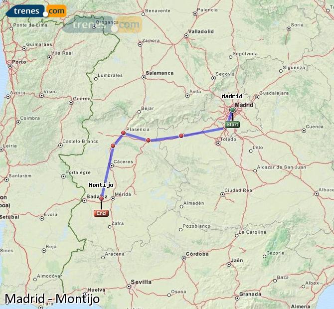 Karte vergrößern Züge Madrid Montijo