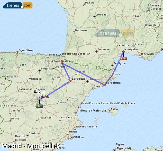 Karte vergrößern Züge Madrid Montpellier