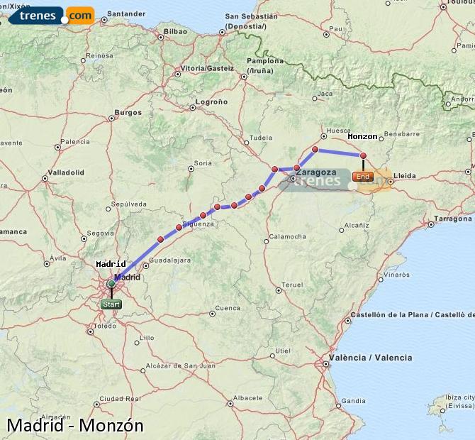 Ampliar mapa Comboios Madrid Monzón