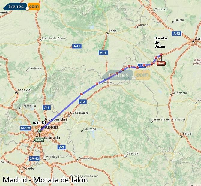 Ampliar mapa Trenes Madrid Morata de Jalón