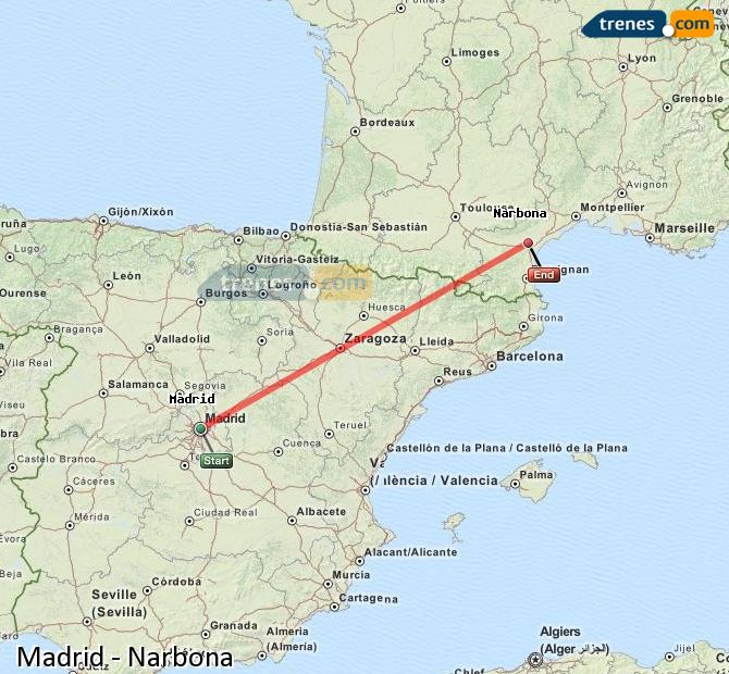 Enlarge map Trains Madrid to Narbonne