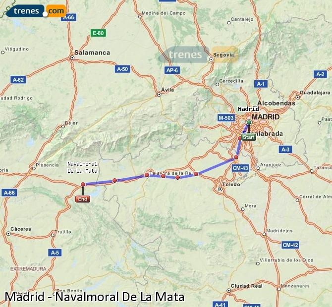 Enlarge map Trains Madrid to Navalmoral De La Mata