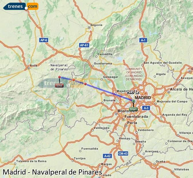 Enlarge map Trains Madrid to Navalperal de Pinares