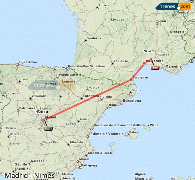 Enlarge map Trains Madrid to Nimes