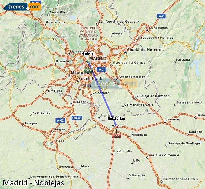 Enlarge map Trains Madrid to Noblejas