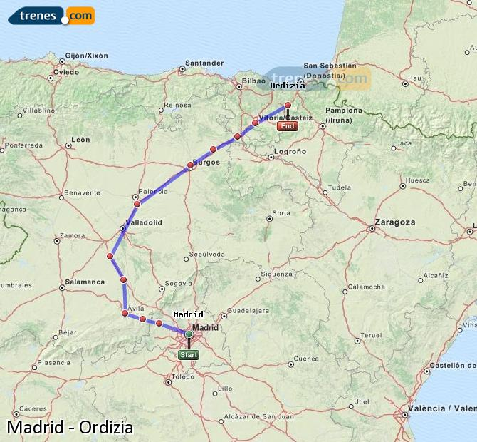Karte vergrößern Züge Madrid Ordizia