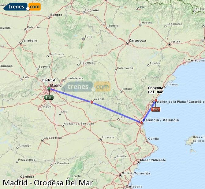Enlarge map Trains Madrid to Oropesa Del Mar