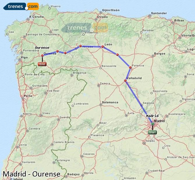 Enlarge map Trains Madrid to Ourense