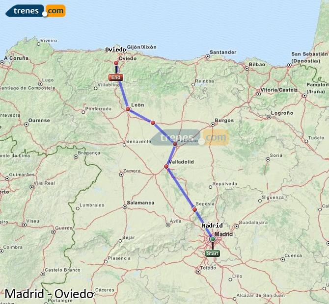 Enlarge map Trains Madrid to Oviedo