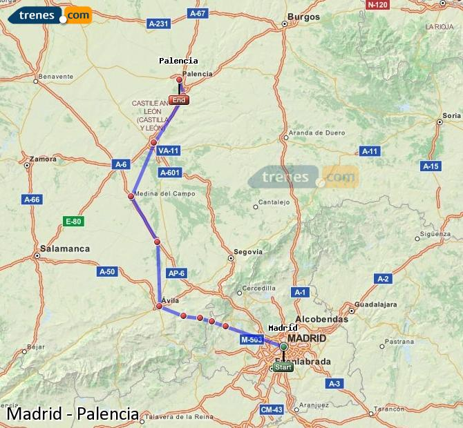 Enlarge map Trains Madrid to Palencia