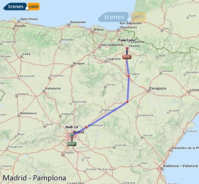 Agrandir la carte Trains Madrid Pamplona
