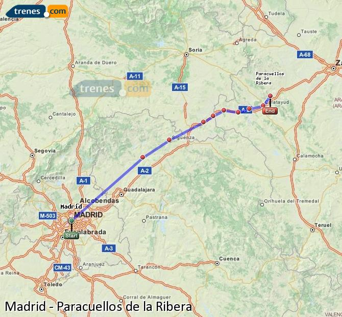 Karte vergrößern Züge Madrid Paracuellos de la Ribera