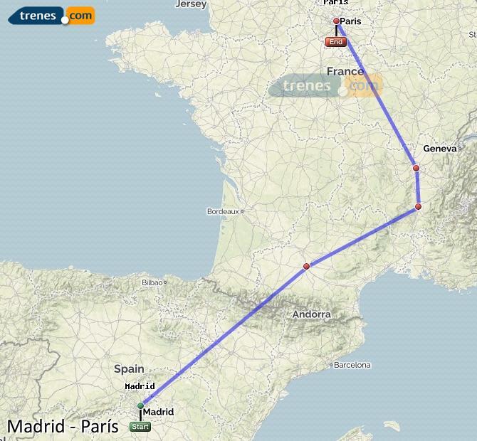 Ampliar mapa Comboios Madrid Paris