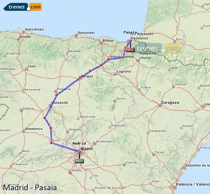 Karte vergrößern Züge Madrid Pasaia
