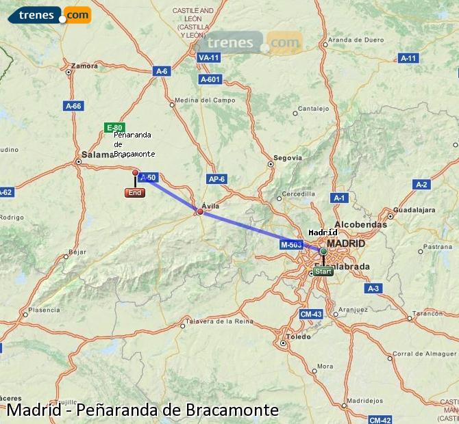 Enlarge map Trains Madrid to Peñaranda de Bracamonte