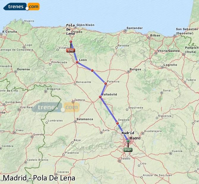 Ingrandisci la mappa Treni Madrid Pola De Lena
