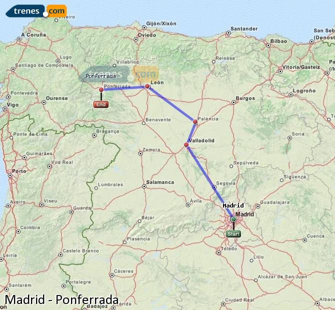 Enlarge map Trains Madrid to Ponferrada