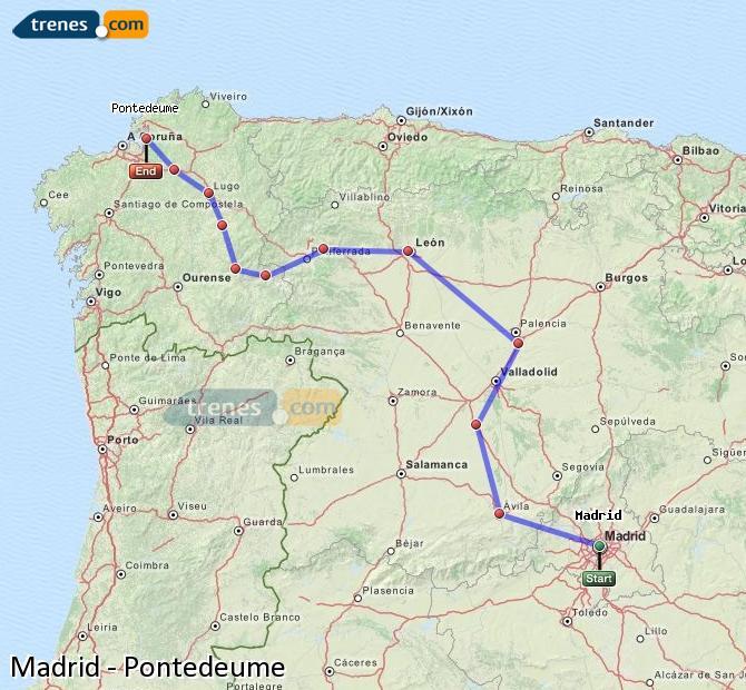 Karte vergrößern Züge Madrid Pontedeume