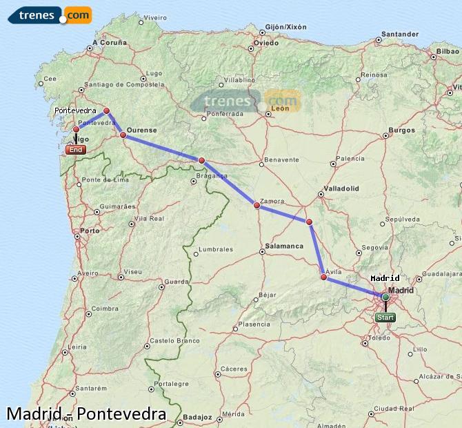 Ampliar mapa Trenes Madrid Pontevedra
