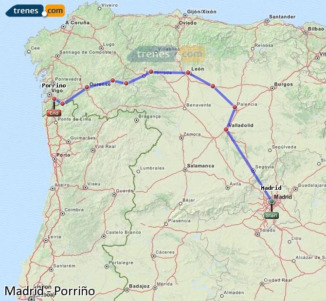 Ingrandisci la mappa Treni Madrid Porriño