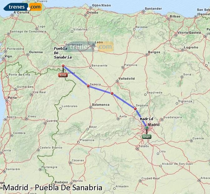 Ingrandisci la mappa Treni Madrid Puebla De Sanabria