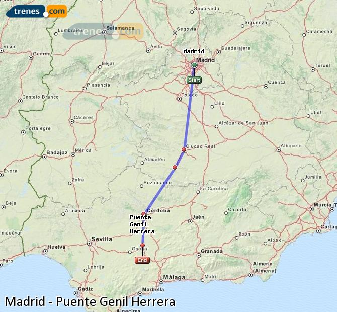 Enlarge map Trains Madrid to Bridge Genil Herrera