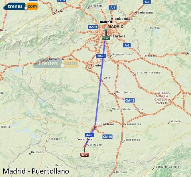 Enlarge map Trains Madrid to Puertollano