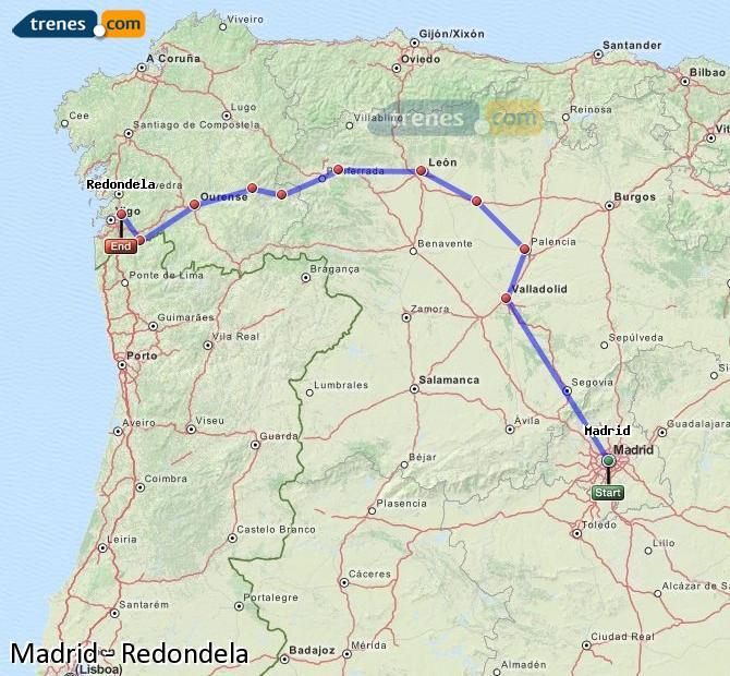 Karte vergrößern Züge Madrid Redondela