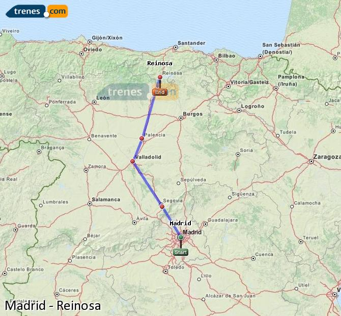 Enlarge map Trains Madrid to Reinosa