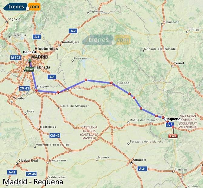 Agrandir la carte Trains Madrid Requena