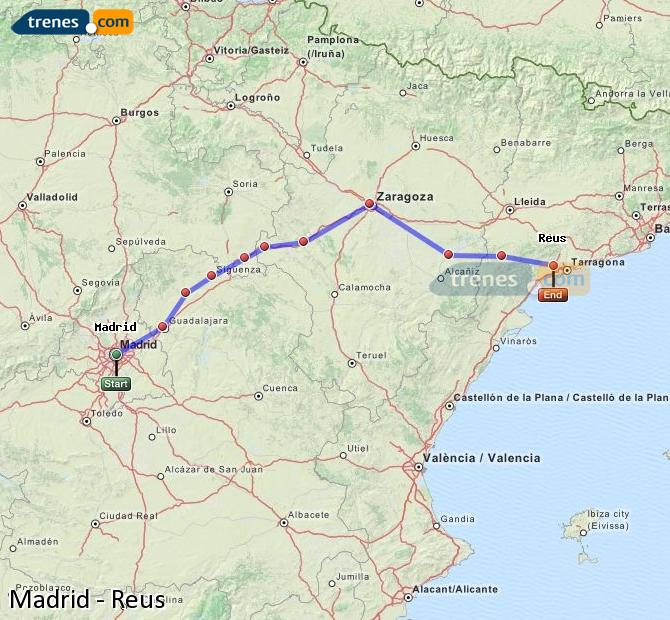 Karte vergrößern Züge Madrid Reus