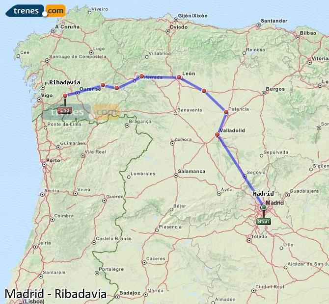 Enlarge map Trains Madrid to Ribadavia
