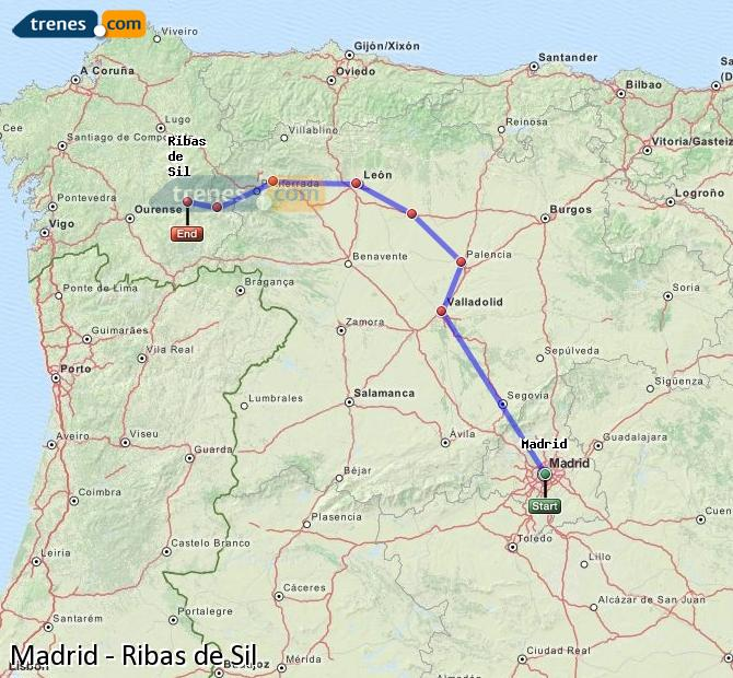 Enlarge map Trains Madrid to Ribas de Sil