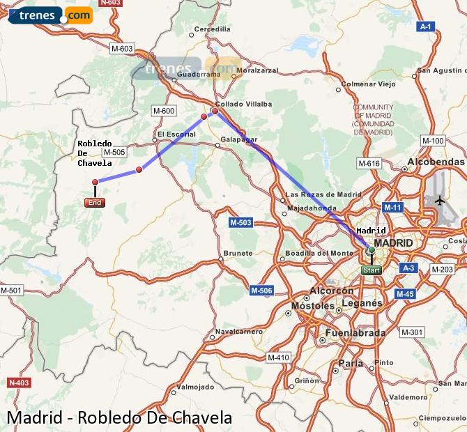 Enlarge map Trains Madrid to Robledo De Chavela