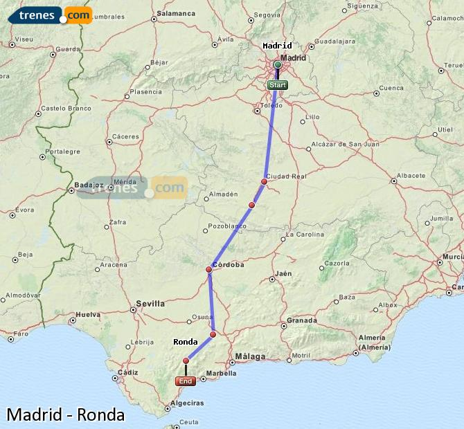 Enlarge map Trains Madrid to Ronda