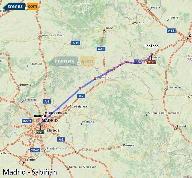 Ingrandisci la mappa Treni Madrid Sabiñán