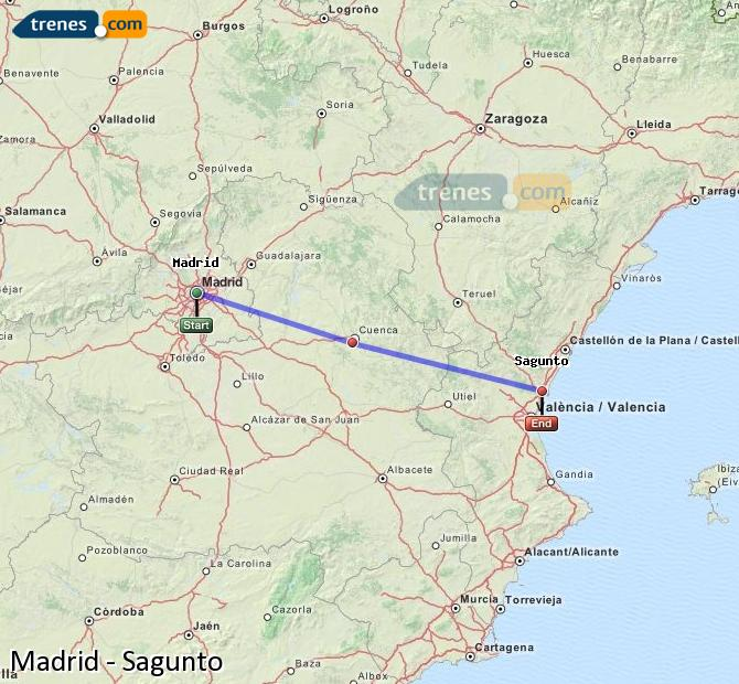 Enlarge map Trains Madrid to Sagunto
