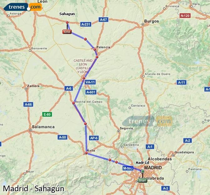 Karte vergrößern Züge Madrid Sahagún