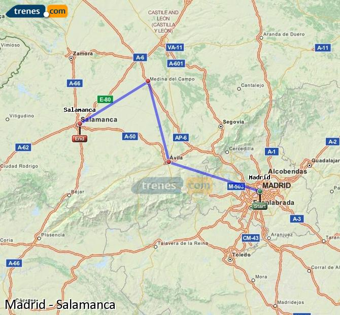 Enlarge map Trains Madrid to Salamanca