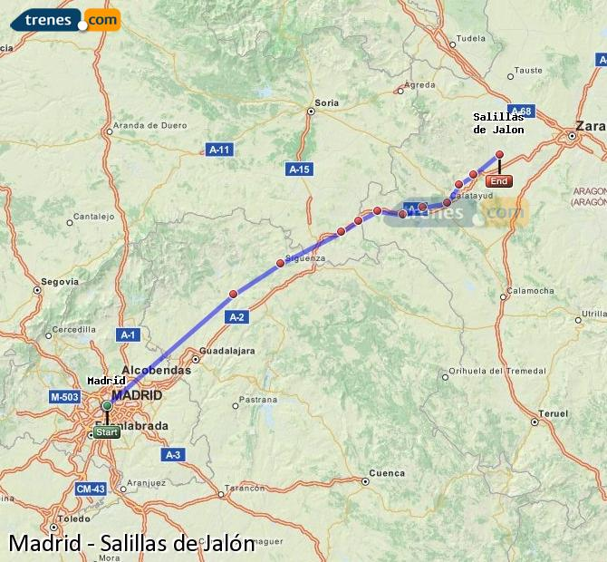 Karte vergrößern Züge Madrid Salillas de Jalón