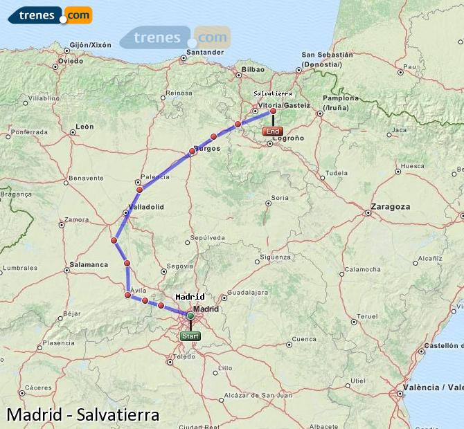 Agrandir la carte Trains Madrid Salvatierra