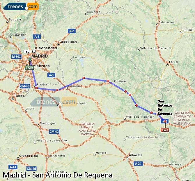 Karte vergrößern Züge Madrid San Antonio De Requena