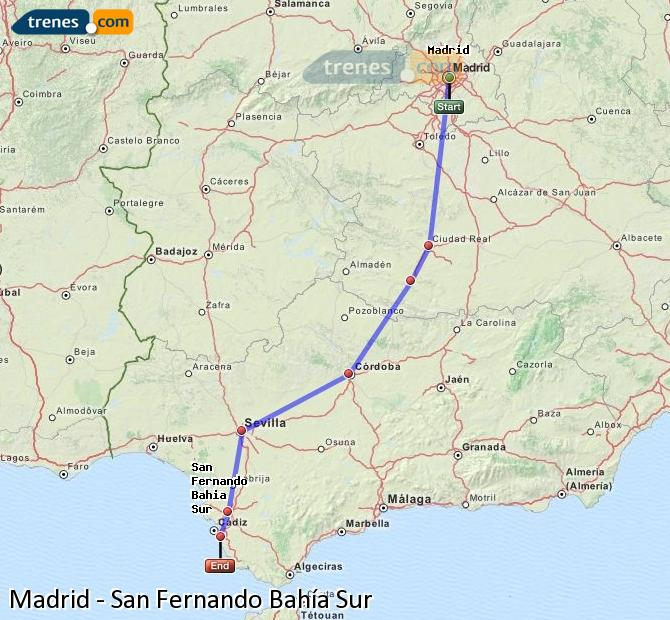 Enlarge map Trains Madrid to San Fernando South Bay
