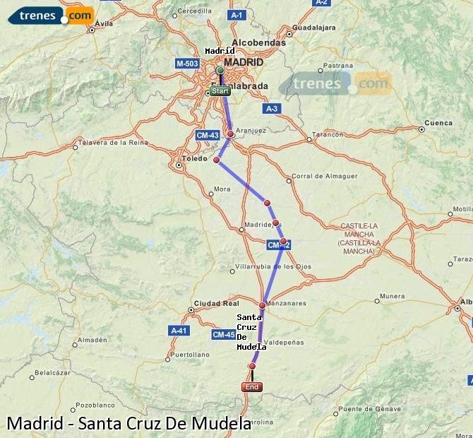 Enlarge map Trains Madrid to Santa Cruz De Mudela
