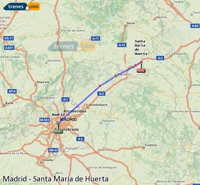Ingrandisci la mappa Treni Madrid Santa María de Huerta