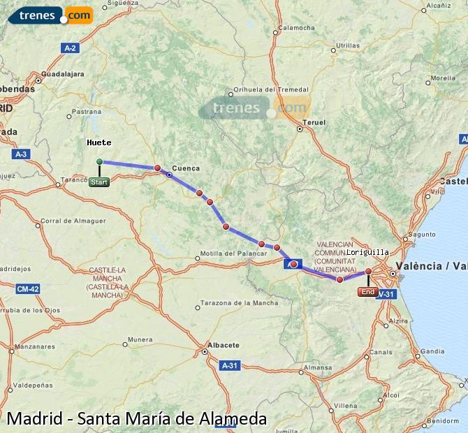 Enlarge map Trains Madrid to Santa Maria de Alameda
